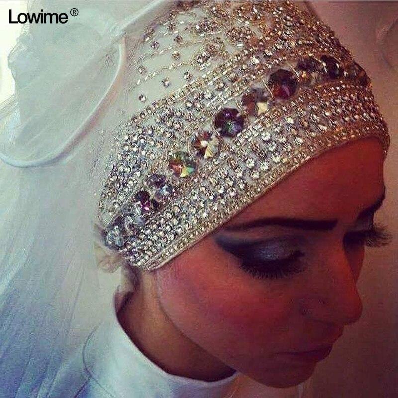 Блестящий длинный мусульманский хиджаб, цвета слоновой кости, белая вуаль для свадьбы, аксессуары для невесты, вуаль с кристаллом veo Veu De Noiva