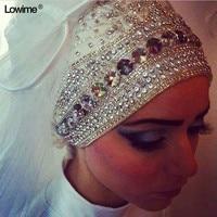 Bling Bling Muslim Long Hijab Ivory White Wedding Bridal Bride Veil Accessories Veils With Crystal Velo Veu De Noiva Boda