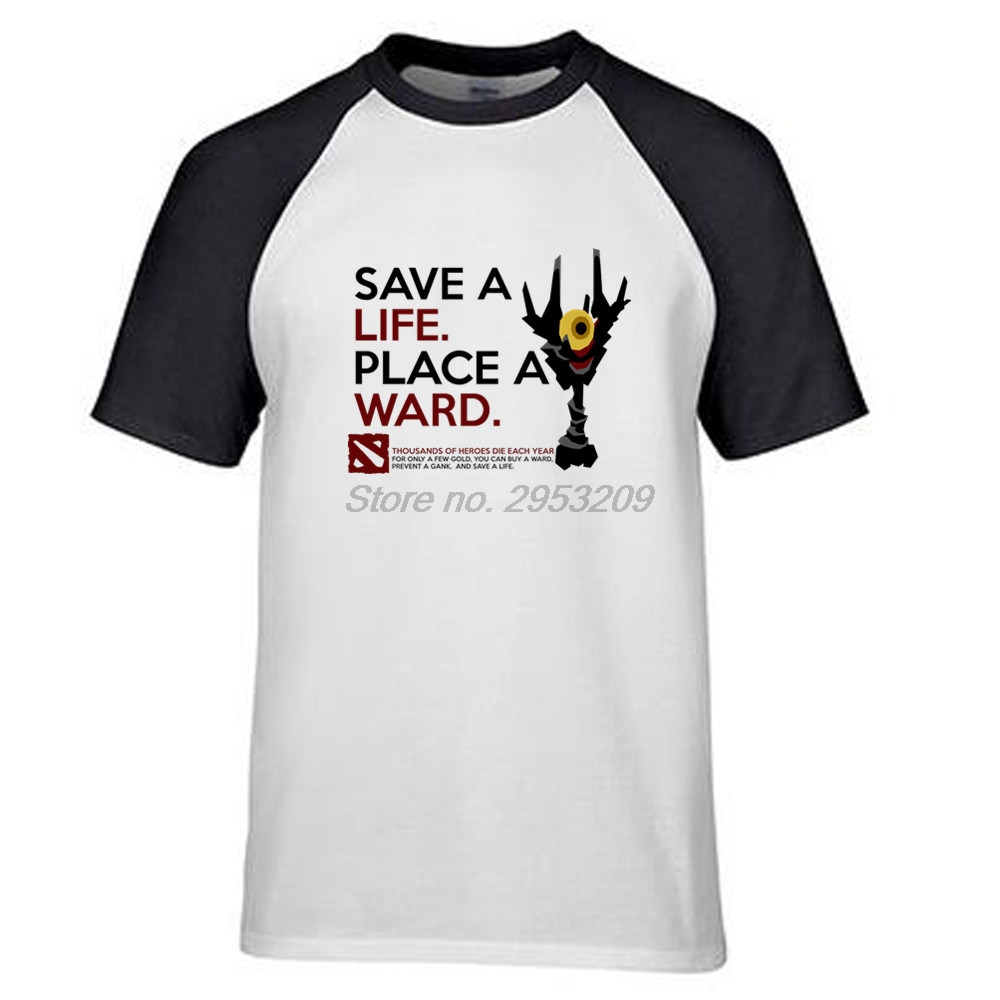 DotA 2 Art of Ward save a life place a ward Mens High quality Fitness T Shirt game Casual T Shirt ringer tees