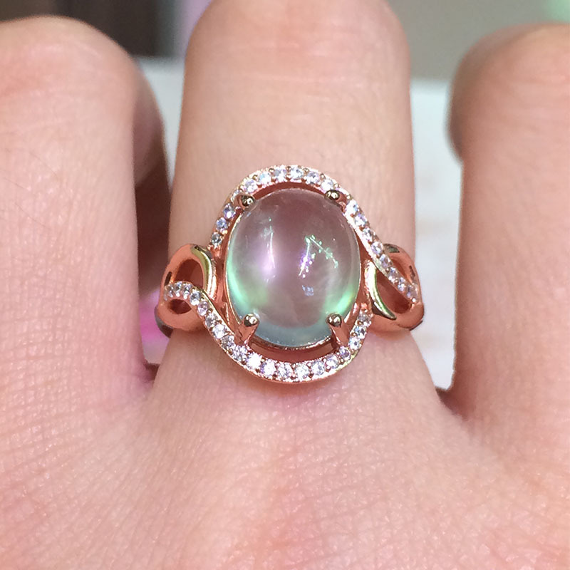 KJJEAXCMY Fine jewelry 925 Silver Natural Gemstone natural grape stone in the ring of rose gold activity ring L15 fine jewelry 925 silver natural prehnites gemstone natural grape stone trumpet ring father s day gift