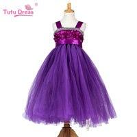 2017 Nuevas Muchachas 5 Colores Roseta Boda Vestidos de Fiesta Vestido de La Muchacha Ropa de Princesa Tutu Dress For 2-10 11 12 Años