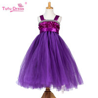 2017 New Girls 5 Colors Rosette Wedding Party Dresses Girl Dress Clothes Princess Tutu Dress For
