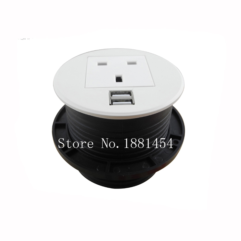 2017 AU/EU/UK/USA/Universal Power + USB Round Desk Mini Table Socket / round socket silver/black 10 pcs /set usb3 0 round type panel mounting usb connecter silver surface