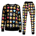 Nuevo estilo de impresión pantalones Emoji divertido espesar largas joggers pantalones de chándal de dibujos animados blanco y negro femenina desgaste 800137