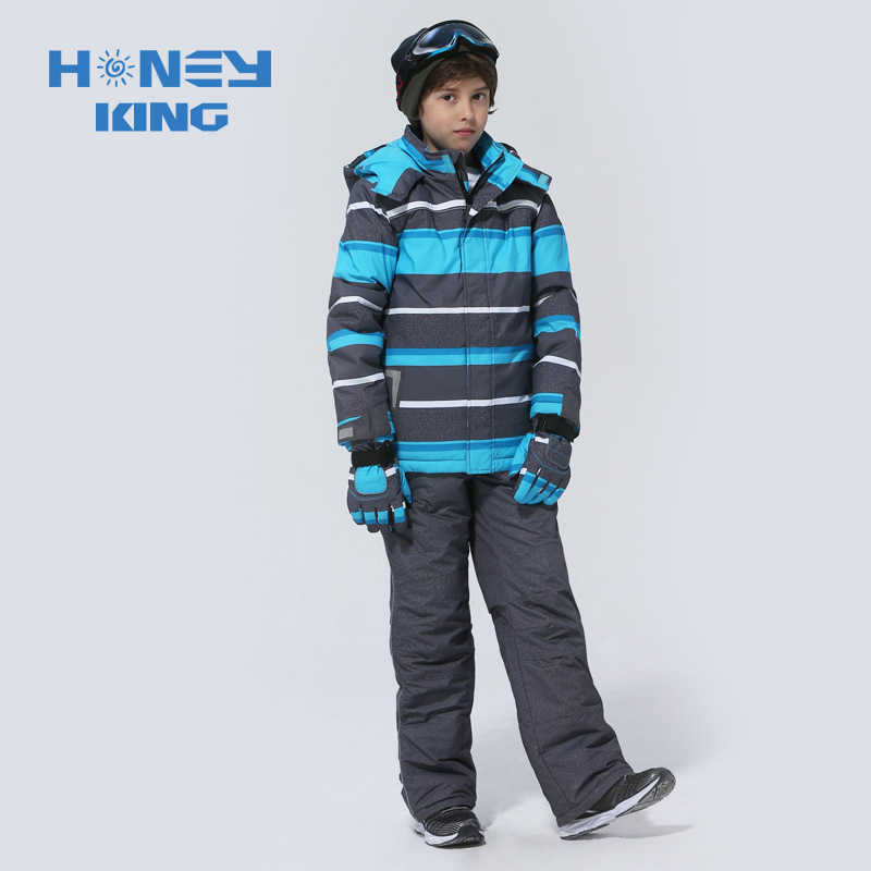 Nouveau Haute Qualité Enfants Ski Costume Enfants Chaud Coupe-Vent Imperméable Rayé Garçons Snowboard Vestes Et Pantalons Taille 98-164 cm