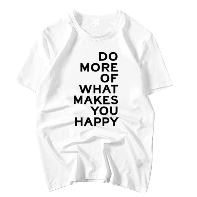 Apink Nam Joo mismo hacer más de lo que te hace feliz impresión manga corta Camiseta para el verano kpop unisex o cuello suelta camiseta