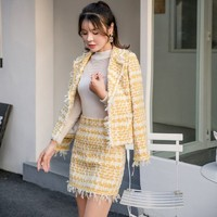 2018 AUTUMN Ladies Wool Tweed Two Piece Set Women Elegant Yellow Notched Collar Striped Short Jacket Coat+Pencil Skirt Suit