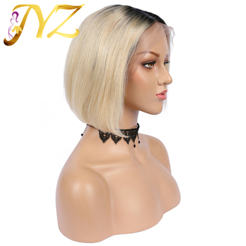 JYZ 13x4 Ombre Human Hair Lace Front Wig Honey Blonde Brazilian  Remy Hair Straight 1B/613 Bob Colored Lace Frontal Wigs