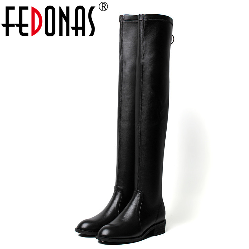 FEDONAS Brand Women Over The Knee High Boots High Heels Slim Long Autumn Winter Dancing Shoes Woman Sexy Round Toe Casual Shoes 20cm pole dancing sexy ultra high knee high boots with pure color sexy dancer high heeled lap dancing shoes
