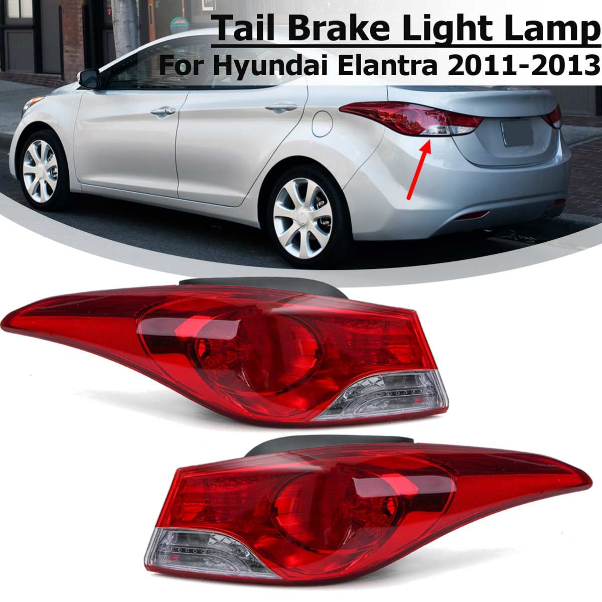 Car Led Tail Light For Hyundai Elantra 2011 2012 2013 Taillight Rear Reverse Brake Fog Lamp Accessories Side Lamp No Bulb Wire