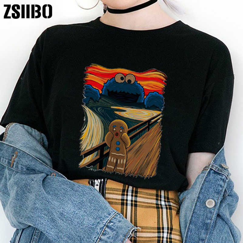 Famous painting shouting screaming gingerbread man sesame street cookie monster spoof short-sleeved women's t-shirt top