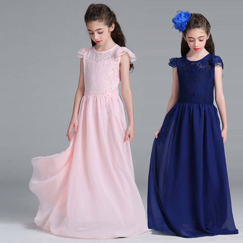 футболка детская armani teen 90028 2015 8 16 7 -16 Years Chiffon Lace Teen Girls Full Dress Fashion Party Wedding Princess Kids Prom Frocks long Dresses vestidos infantil