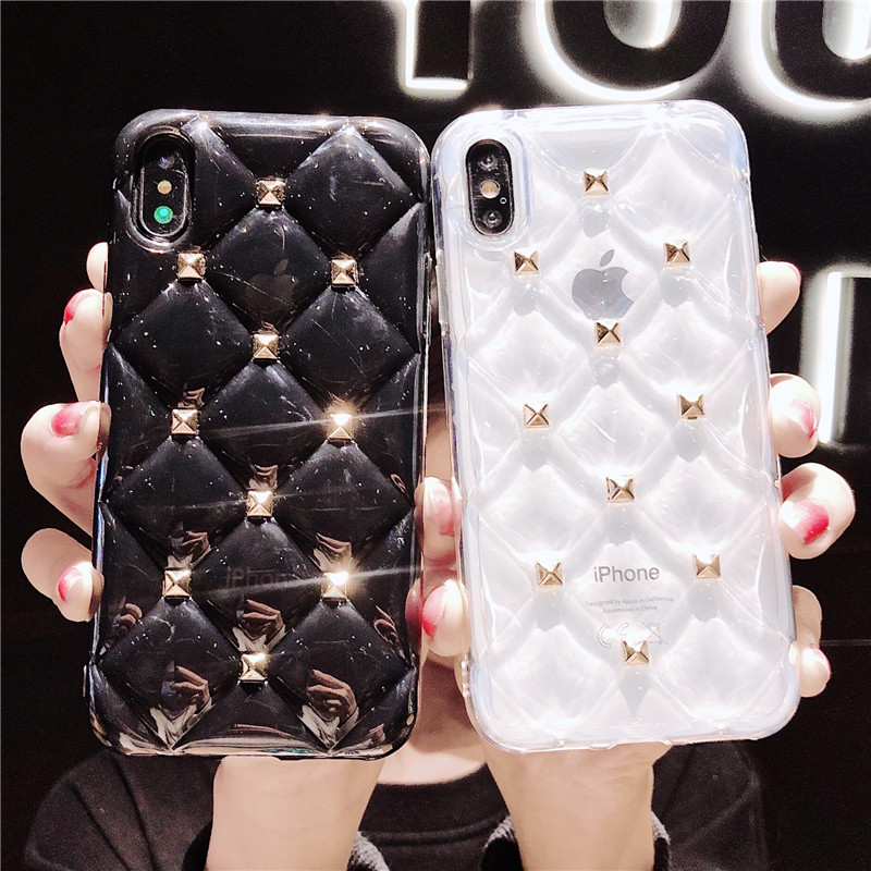 Luxury 3D Diamond Texture Case For iPhone Xs max XR X Soft Phone Cover for iPhone 6s 7 8 Plus Transparent Case Ultra Thin Coque