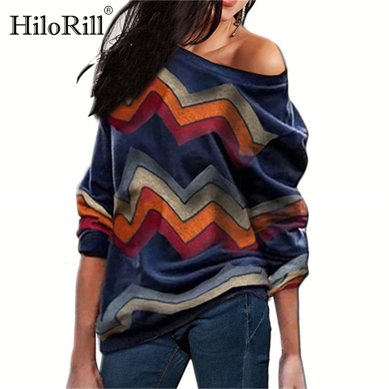 Autumn Sweater Women 2019 Striped Print Off Shoulder Knitted Sweaters Female Vintage Casual Loose Pullover Sweater Pull Femme