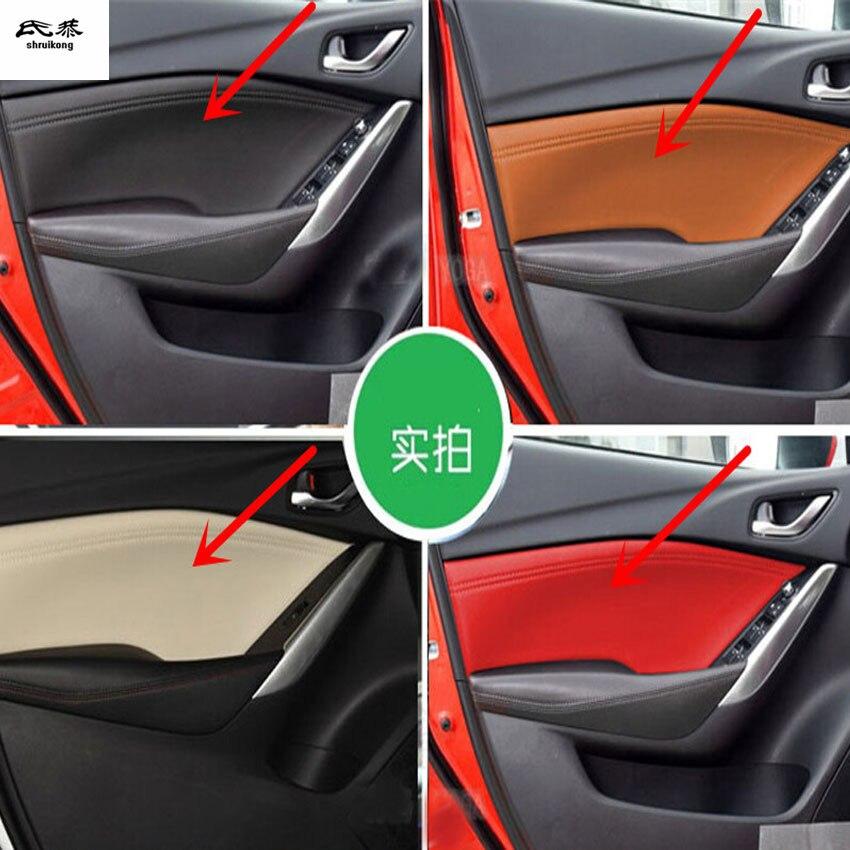 4 pcs/lot couverture de décoration de position de porte de voiture en cuir microfibre pour 2014-2018 MAZDA 6/pour 2015-2018 MAZDA 3