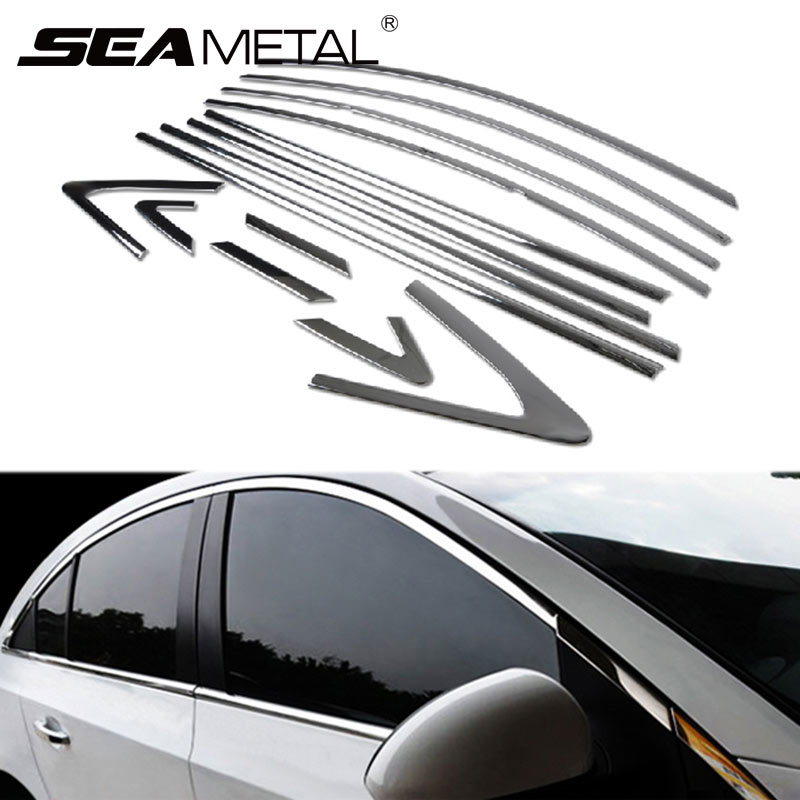 Car Window Door Strips For Chevrolet Cruze 2014 2013 2012 2011 2010 2009 Stainless Steel Full Trim Front Decoration Accessories free shipping 304 stainless steel car window chrome trim decoration car styling for ford edge 2011 2012 2013 2014 page 7