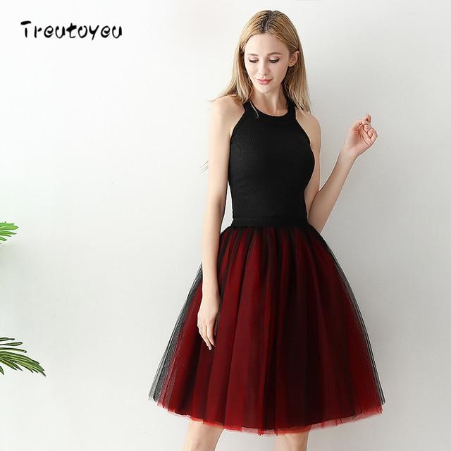 Faldas para mujer 6 capas Midi de tul falda elegante falda Tutu Mujer Faldas  de bola 6ef475c752cc