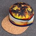 Tapa de estilo floral del verano hombres mujeres snapback sombrero de hip hop roca snapback gorras de béisbol gorras de moda de coco/playa/mapa snapback caps