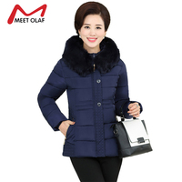 2017 Fur Hood Winter Coat Women Winter Jackets Middle Aged Female Cotton Parka Mother S Gift