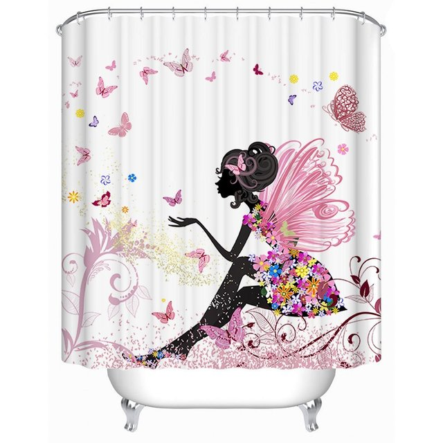 Memory Home Trendy Pink Flower Fairy Girl With Butterfly Bathroom Curtain  White Background Waterproof Fabric Shower