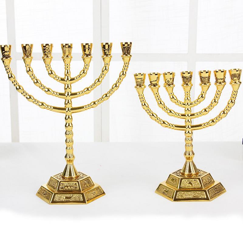 Ausdrucksvoll Gute Qualität Neue Christen Dekorative Artikel Israel Stil Menorah Goldene Lampstands