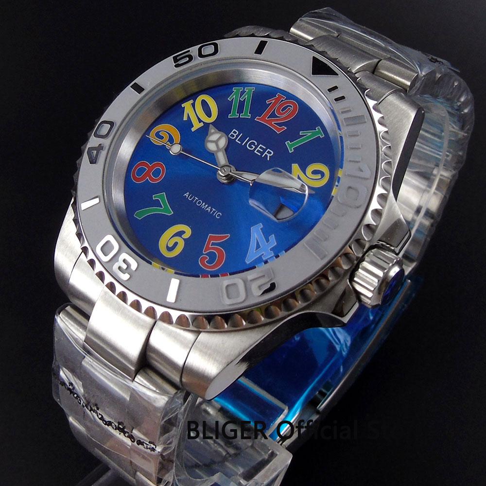 лучшая цена BLIGER 40MM Blue Dial Ceramic Bezel Luminous Hand Full Stainless Steel Sapphire Glass MIYOTA Automatic Movement Men's Watch B104