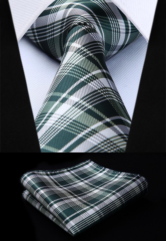 Woven Classic Men Tie Necktie  TC812G8S Plaid Green White Check 3.4