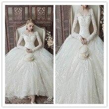 Vestidos De Novia RealBall Gown Wedding Dresses O Neck Long Sleeve Zip Back Lace Applique Beads Elegant Bridal Gown Floor-Length