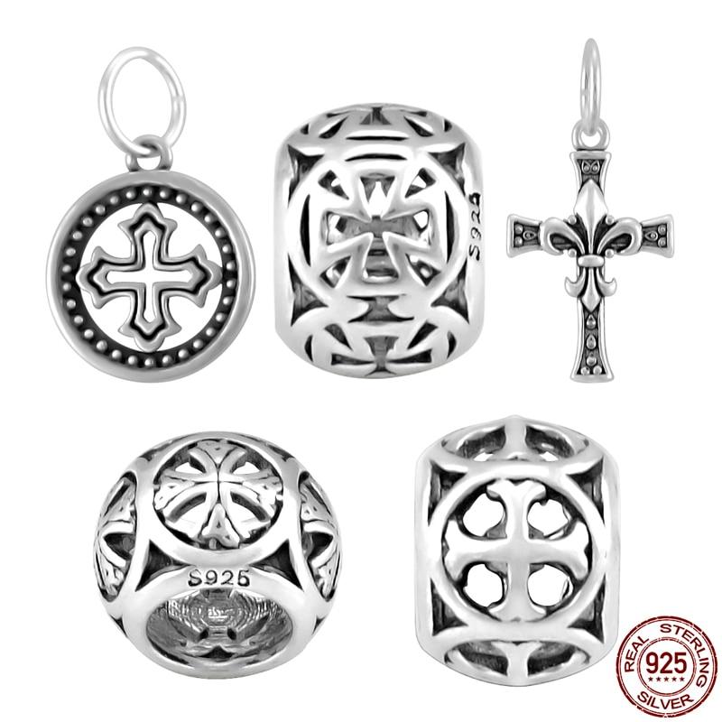 2018 New 925 Sterling Silver Cross Charm Dollar Star Moon
