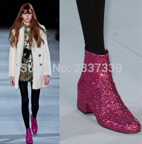 Gold Sliver Rose Red Runway New Fashion Boots Celebrity