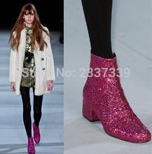 Gold Sliver Rose Red Runway New Fashion Boots Celebrity Women Sparkle Shiny Sequins Ankle Boots Glitter
