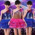 2016Girls Jazz/Latin/Ballet Dance Costume Kids Party Dress up Dancing Top Skirt Performances Stage Outfit balett dress girl