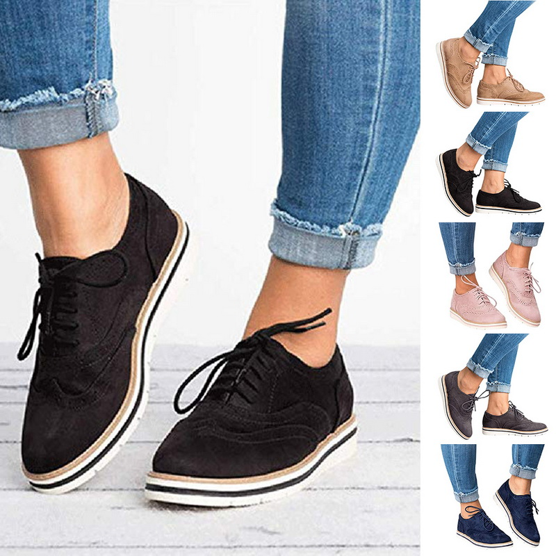 Adisputent Women Brogue Shoes Flat Platform Autumn England Ladies Oxfords Cut-Outs Lace Up Casual Female Breathable Footwear New Обувь