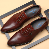 2019 Men dress shoes Genuine cow leather brogue Wedding shoes mens casual flats shoes black burgundy oxford shoes for men summer