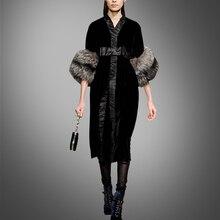 Rushed Hot Sale Natural None Silk Robe Women Dress And Winter The Big European American South Korea Raccoon Fur Dress Slim
