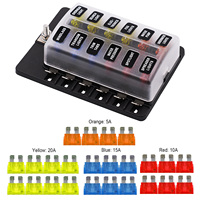 12 Way Fuse Box Blade Fuse Holder 5A 10A 15A 20A Fuses LED Indicator Waterpoof Cover for Automotive Car Marine Boat PC Terminal