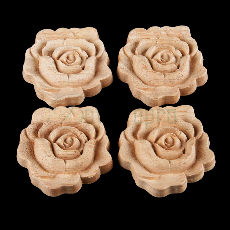 Bowarepro 4pcs Unpainted Wood Carved Decal Corner Flower Wall Door Closet Furniture Decorative Figurines Crfts Accessories 7*7cm Famous For Selected Materials, Novel Designs, Delightful Colors And Exquisite Workmanship
