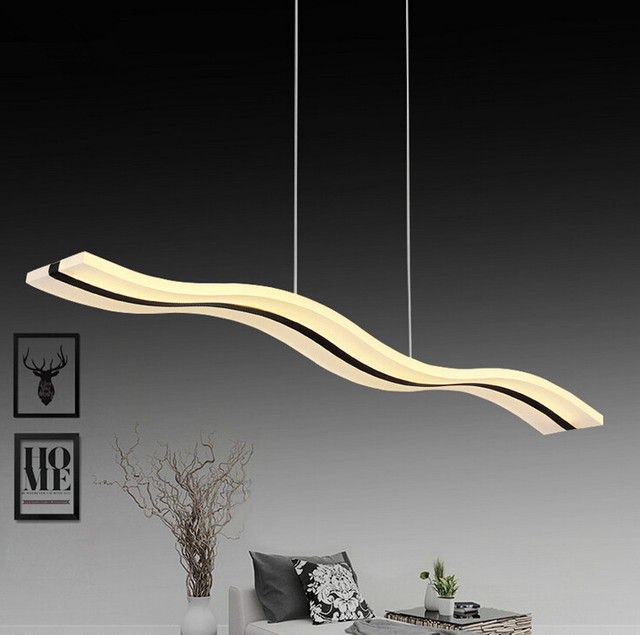 2017 sale modern design led living room wave pendant light simple personality suspension acrylic home decor - Suspension Design Led