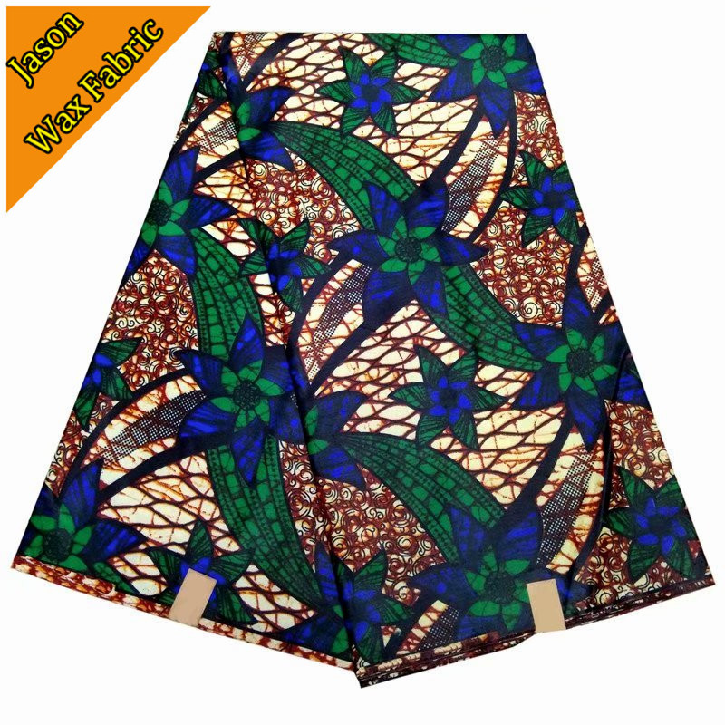 2018 Newest 100% polyester ankara fabric super wax african prints fabric wax 6yards fabric for dress / LBL