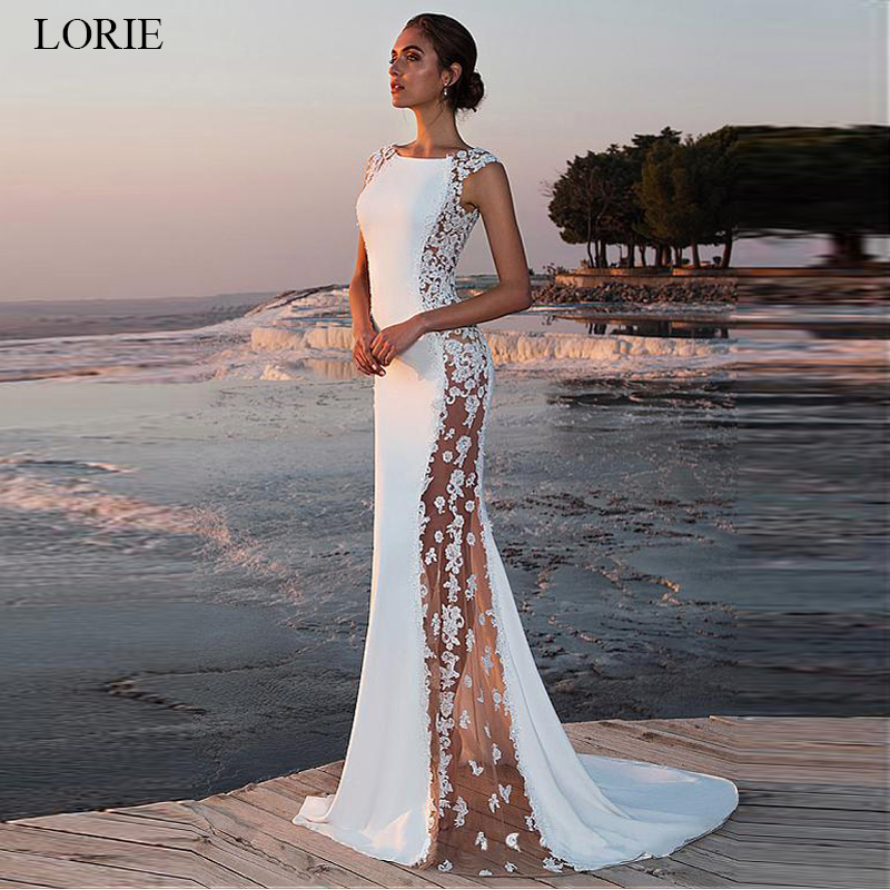 LORIE Lace Satin Wedding Dress 2020 O-neck See-through Mermaid Bridal Gowns Sleeveless Wedding Party Dresses