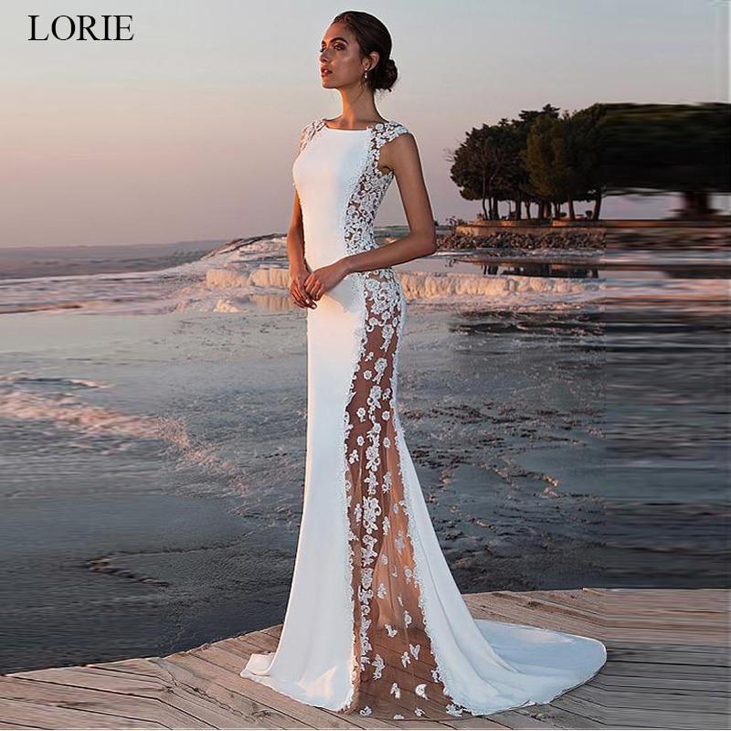 LORIE Satin Lace Wedding Dress Mermaid 2019  O-neck See-through Bridal Gowns Beach Sleeveless Elegant Wedding Party Dresses Boho