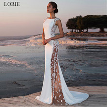 LORIE Raso Pizzo Abito Da Sposa Mermaid 2019 O-Collo See-through Abiti Da Sposa beach Senza Maniche Eleganti Abiti Da Festa di Nozze Boho(China)