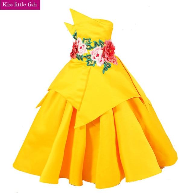 Free shipping Latest original design Yellow sexy children images Kids  evening gowns Graduation dresses kids