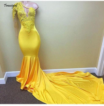 Sexy Yellow perspective Long Sleeve Prom Dresses 2018 Appliques Lace One shoulder  Evening Dress Satin Mermaid African