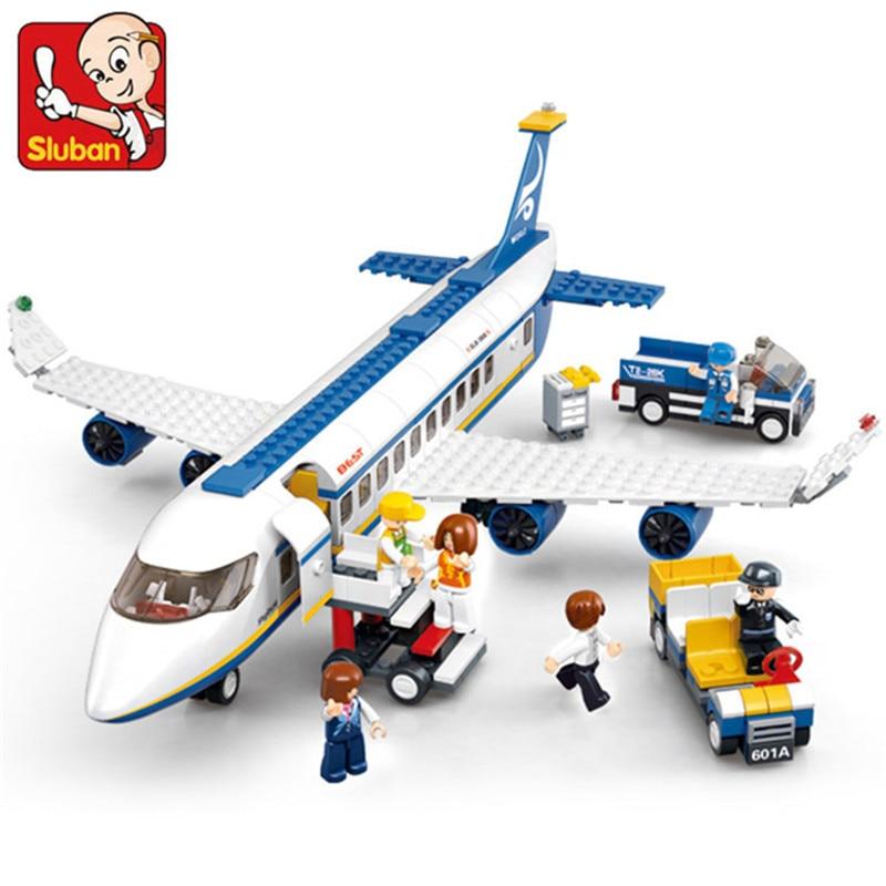 Sluban 463pcs LegoINGS City Air Plane Passenger Airport Building Blocks Sets Car Figures Bricks Educational Toys for Children