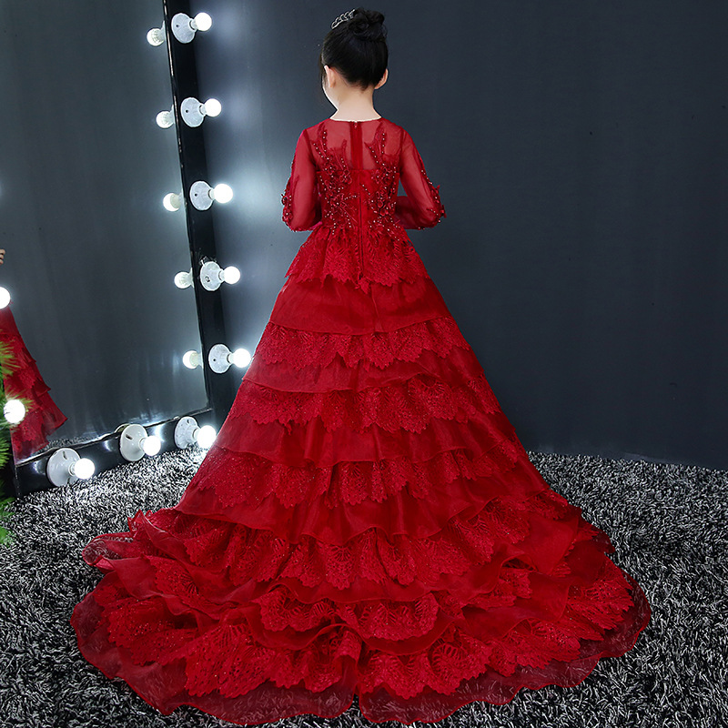 1-12Y Red Dress for Birthday Girls Princess Dress Ball Gown Flower Girl Dresses Appliques Trails Kids Pageant Dress Luxury 6 color flower girls dresses for wedding pink white red kids children ball gown pageant party flower girl dress 2 12y
