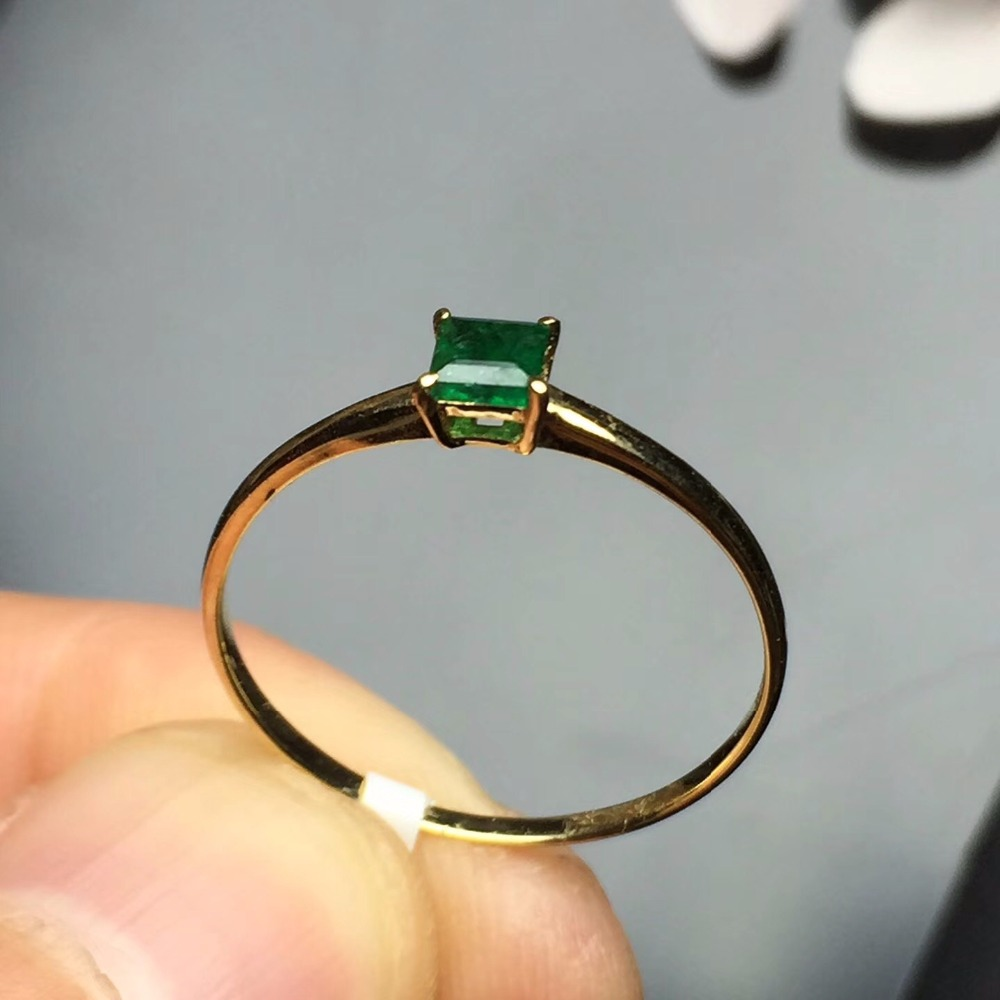 Fine Jewelry Love g18K Real 18K Gold 3MM Natural Emerald Gemstone Love Female Wedding Rings for women Fine Ring