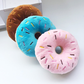 Soft Dog Donuts Plush Pet Dog Toys For Dogs Chew Toy Cute Puppy Squeaker Sound Toys Funny Puppy Small Medium Dog Interactive Toy