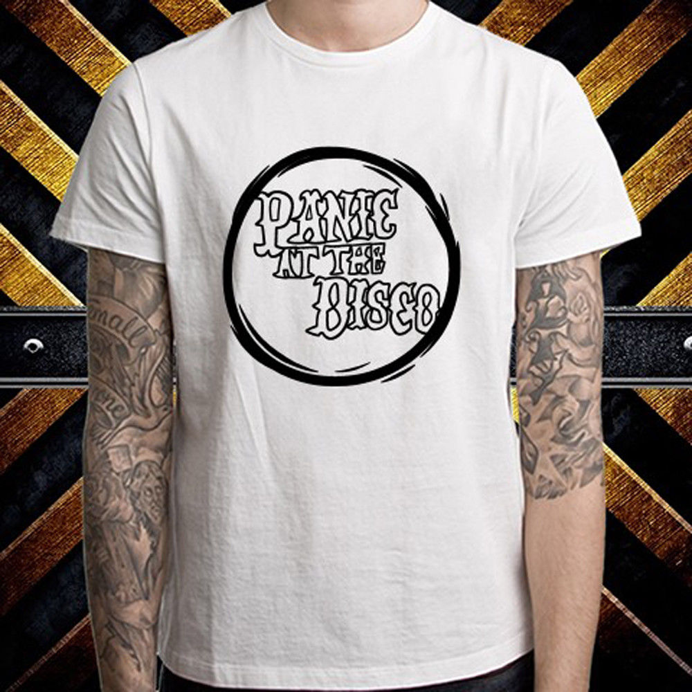 Panic! at the Disco logo American Rock Band Mens White T-Shirt Size S to 3XL