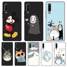 N448 Totoro Lovely Black Silicone Case Cover For Huawei P8 P9 P10 P20 P30 Lite Pro P Smart Plus 2017 2019